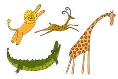 Animali della savanna per i bambini Immagini Stock Libere da Diritti