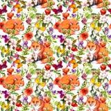 Animali delle volpi, fiori del prato di estate e farfalle svegli Ditsy che ripete modello floreale watercolor illustrazione vettoriale