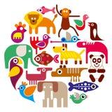 Animali dello zoo - illustrazione rotonda di vettore illustrazione vettoriale