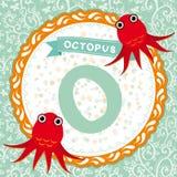 Animali di ABC: La O è polipo L'alfabeto inglese dei bambini Vettore Fotografia Stock