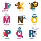 Animali di alfabeto da J alla R Fotografia Stock