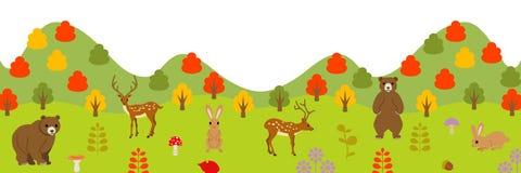 Animali di autunno in foresta, panoramica illustrazione vettoriale