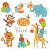 Animali di buon compleanno illustrazione vettoriale
