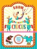 Animali di Circus dell'artista del circo Manifesto di una manifestazione del circo clipart di vettore Un invito ad una manifestaz illustrazione vettoriale