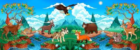 Animali di legno divertenti in un paesaggio della montagna con il fiume illustrazione di stock