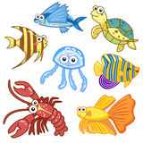 Animali di mare del fumetto messi con fondo bianco Immagini Stock