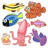 Animali di mare del fumetto messi con fondo bianco Fotografia Stock
