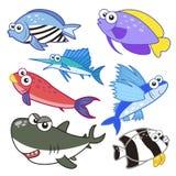 Animali di mare del fumetto messi con fondo bianco Fotografie Stock