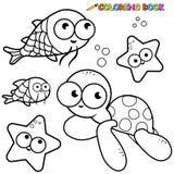 Animali di mare del libro da colorare messi Fotografie Stock