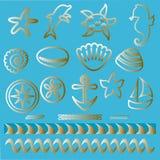 Animali di mare disegnati a mano ed icone nautiche di simboli del profilo stabilito nautico del tatuaggio Fotografie Stock Libere da Diritti