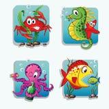 Animali di mare Granchio, ippocampo, stella marina, polipo, pesci Fotografie Stock