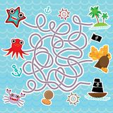 Animali di mare, pirati delle barche il mare sveglio obietta il gioco del labirinto della raccolta per i bambini in età prescolar Fotografia Stock Libera da Diritti