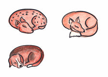 Animali disegnati a mano di sonno Fotografie Stock Libere da Diritti