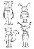 Animali disegnati a mano in vestiti, isolati Immagine Stock Libera da Diritti