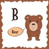 Animali divertenti del fumetto Lettera di B Alfabeto sveglio per istruzione dei bambini Illustrazione di vettore Immagini Stock