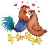 Animali divertenti della famiglia del pollo Fotografia Stock