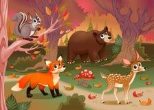 Animali divertenti nel legno illustrazione di stock