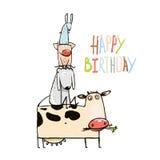 Animali domestici dell'azienda agricola divertente del fumetto di compleanno Immagine Stock Libera da Diritti