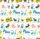 Animali domestici di divertimento dell'azienda agricola luminosa del fumetto senza cuciture Fotografia Stock
