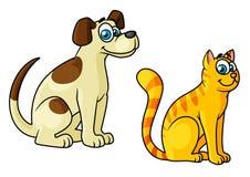 Animali domestici felici svegli del gatto e del cane del fumetto Fotografie Stock