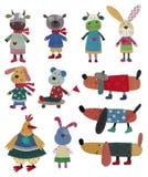 Animali domestici, personaggi dei cartoni animati Fotografia Stock Libera da Diritti