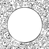 Animali domestici in un cerchio intorno a spazio vuoto Fotografia Stock Libera da Diritti