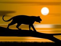 Animali ed astronomia di Tiger On Tree Represents Wildlife royalty illustrazione gratis