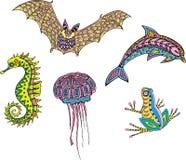 Animali eterogenei stilizzati Immagini Stock Libere da Diritti