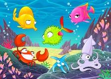 Animali felici divertenti sotto il mare Immagini Stock Libere da Diritti