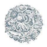 Animali marini, frutti di mare Schizzi disegnati a mano Illustrazione di vettore Fotografia Stock Libera da Diritti