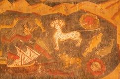 Animali mitici dalle storie bibliche sugli affreschi della cattedrale cristiana Fotografia Stock