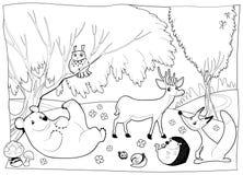 Animali nel legno, in bianco e nero. royalty illustrazione gratis
