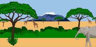 Animali nel paesaggio africano illustrazione vettoriale