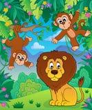 Animali nell'immagine 7 di argomento della giungla illustrazione di stock