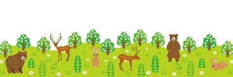Animali nella vista panoramica della foresta illustrazione di stock