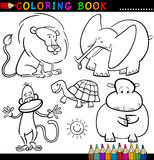Animali per il libro o la pagina di coloritura Immagine Stock Libera da Diritti