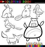 Animali per il libro o la pagina di coloritura Immagini Stock