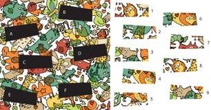 Animali: Pezzi della partita, gioco visivo Soluzione nello strato nascosto! Fotografia Stock