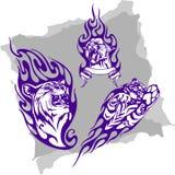 Animali predatori e fiamme - insieme 2. royalty illustrazione gratis