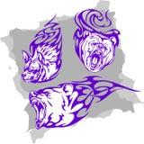 Animali predatori e fiamme - insieme 3. royalty illustrazione gratis