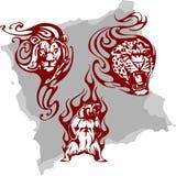 Animali predatori e fiamme - insieme 5. illustrazione di stock