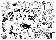 Animali puerili monocromatici Fotografia Stock