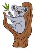 Animali selvatici del fumetto per i bambini Piccola koala sveglia Fotografie Stock Libere da Diritti