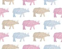 Animali selvatici dell'acquerello dell'Africa - rinoceronte Disegnato a mano illustrazione di stock