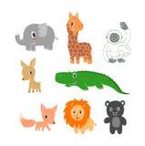 Animali selvatici disegnati a mano immagini stock