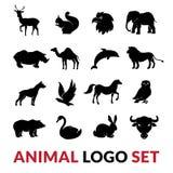 Animali selvatici Logo Icons Set nero Fotografia Stock