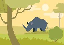 Animali selvatici piani di vettore del fumetto di progettazione della savanna di rinoceronte Fotografia Stock