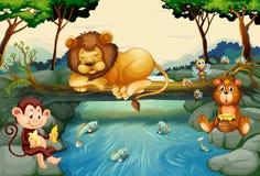 Animali selvatici sul fiume royalty illustrazione gratis