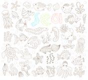 Animali subacquei disegnati a mano messi Fotografia Stock Libera da Diritti