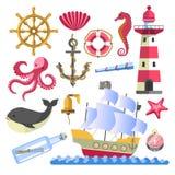 Animali subacquei e nave di simboli marini con il segnale royalty illustrazione gratis